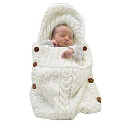 XMWEALTHY Newborn Baby Wrap Swaddle Blanket Knit Sleeping Bag Sleep Sack Stroller Wrap for Baby( ...