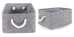 2 Pack Grey Fabric Storage Bins for Nursery Storage Canvas Storage Basket,15.7×11.8×8.3 inch
