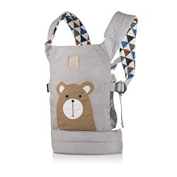 GAGAKU Dolls Carrier Front and Back Soft Cotton for Baby over 18 Months, Brown Bear – Grey