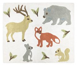Sweet Jojo Designs Deer, Bear, Fox, Rabbit, and Squirrel Accent Floor Rug Bedroom Decor for Wood ...