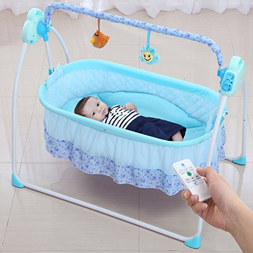Electric Baby Bedding Wbpine Baby Cradle Baby Swing Blue