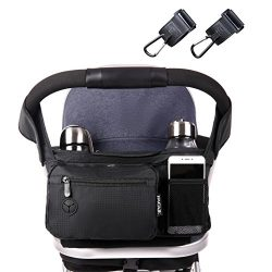Bagail Stroller Organizer Fits All Strollers, Two Premium Deep Cup Holders, Extra-Large Storage  ...