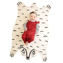 Finebaby Baby Blanket Cartoon Animal Shape Bear Pattern Muslin Cotton Infant Crawling Mat Early  ...
