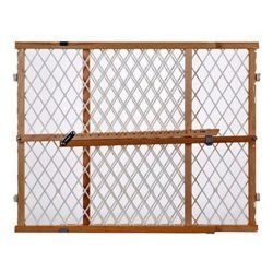 Supergate Wood Frame Diamond Mesh Gate, Fits Spaces between 26.5″ to 42″ Wide and 23 ...