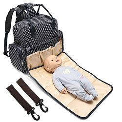 All in One Backpack Diaper Bag Waterproof Baby Nappy Bag Mom Bag for Mom and Dad Fit Stroller &# ...