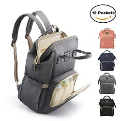 Diaper Bag Backpack, Large Capacity for Baby Care, Individual Functional Pockets & Fashion D ...