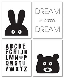 8″x10″ Black and White Nursery Prints for Baby and Children Room Decor & Decorat ...