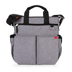 Skip Hop Duo Signature Carry All Travel Diaper Bag Tote with Multipockets, One Size, Heather Grey