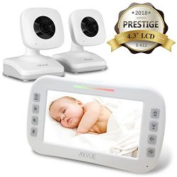 AXVUE E612 Video Baby Monitor with 4.3″ LCD Screen and Two Cameras, Night Vision, 800 ft.  ...