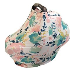 Baby Car Seat Canopy and Nursing Cover – Multi-Use High Chair, Stroller, Shopping Cart Cov ...