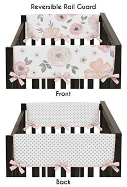 Sweet Jojo Designs 2-Piece Blush Pink, Grey and White Side Crib Rail Guards Baby Teething Cover  ...