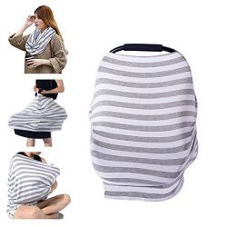 PPOGOO Nursing Cover for Breastfeeding Super Soft Cotton Multi Use for Baby Car Seat Covers Cano ...