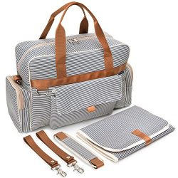 Diaper Bag | Baby Tote Bags | Waterproof | Unisex | Spacious Nautical Navy and Cream Stripe by O ...