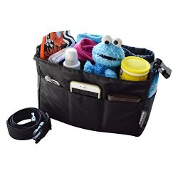 Diaper Bag Insert Organizer for Stylish Moms, Black, 12 pockets, Turn Your Favorite Tote Bag int ...