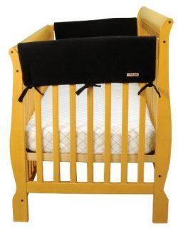 Trend Lab Fleece CribWrap Rail Covers for Crib Sides (Set of 2), Black, Wide for Crib Rails Meas ...