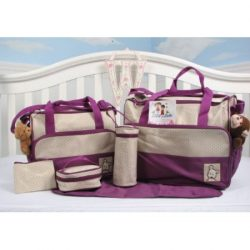 SoHo diaper bag Lavender 7 pieces nappy tote bag unisex for baby mom dad stylish insulated unise ...