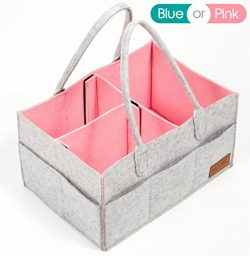 Diaper Caddy, Nursery Storage Bin & Tote Bag for Car Travel and Portable Organizer for Girls ...