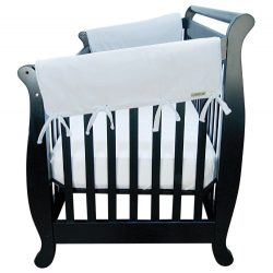 Trend Lab Fleece CribWrap Rail Covers for Crib Sides (Set of 2), Gray, Wide for Crib Rails Measu ...
