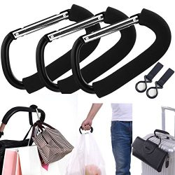 APURSUE 3 Pack X-Large Stroller Hook for Mommy, Hanger Organizer Baby Accessories for Hanging Di ...