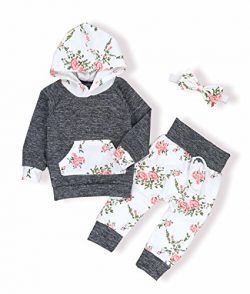 oklady Toddler Baby Girls Florals Clothes Outfits Set Long Sleeve Hoodie Sweatshirt With Bowknot ...