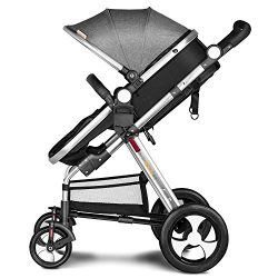 Besrey Newborn Baby Stroller for Infant Folding Convertible Baby Carriage Luxury High View Anti- ...