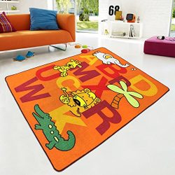 Kids Rug ABC animals with Elephant Giraffe Lion crocodile for Playroom & Nursery Learning Ca ...