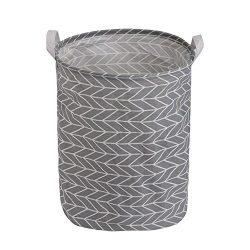 Toy Large Storage Bins, Folding Cylindric Waterproof of Coating Canvas Fabric Kids Laundry Baske ...