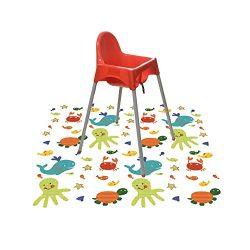 Splat Mat for Under High Chair/Arts/Crafts, Wo Baby Reusable Waterproof Anti-slip Floor Splash M ...