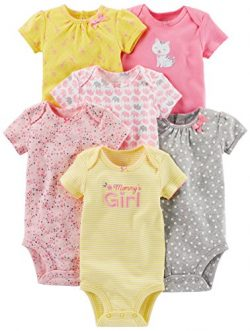 Simple Joys by Carter's Girls' 6-Pack Short-Sleeve Embellished Bodysuit, Pink/Yellow ...