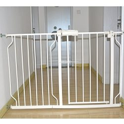Fairy Baby Safety Metal Walk-Thru Gate,Fits Spaces between 25.6″ and 27.9″ Wide,White