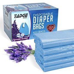 Tadge Goods Baby Disposable Diaper Bags – 100% Biodegradable Diaper Sacks With Lavender Scent &a ...