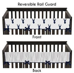 Sweet Jojo Designs Navy and White Woodland Deer Long Front Rail Guard Baby Teething Cover Crib P ...
