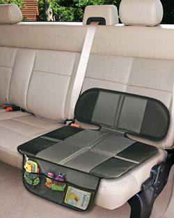 Car Seat Protector, Extra Storage Pocket Thickest Padding Protection for Child & Baby Cars S ...