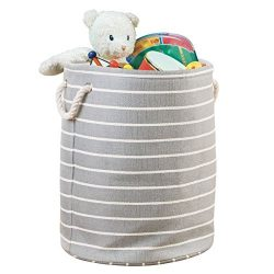 mDesign Fabric Storage Round Bin with Handles for Baby Nursery to Hold Baby Clothes, Blankets, T ...
