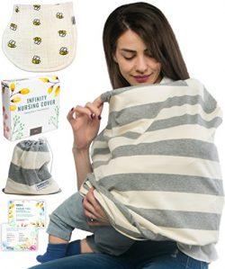 Breastfeeding Nursing Cover + 1 Burp Cloth by HealthySam – Baby Car Seat Covers – Sh ...