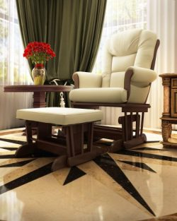 Naomi Home Deluxe Multi-Position Sleigh Glider and Ottoman Set, Sand/Espresso