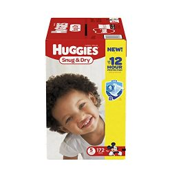 HUGGIES Snug & Dry Diapers, Size 5, for Over 27 lbs., One Month Supply (172 Count) of Baby D ...