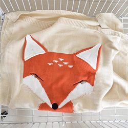 Children Knitting Blanket, Fashion Handmade Super Soft Warm Fox Cotton Cable Crocheted Throw Sle ...