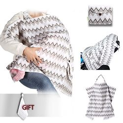 Umiin Nursing Cover Breastfeeding Cover Super Soft Breathable Cotton Sewn in Pouch with Rigid Ne ...