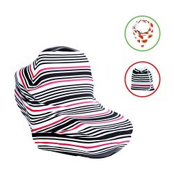 Cotton Baby Car Seat Canopy and Nursing Cover 4 -1 , Multi use, Shopping Cart, Stroller or Car S ...