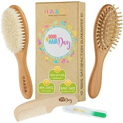4 Piece Natural Baby Wooden Hair Brush and comb set, Free nail file, Babies Grooming Kit, Soft G ...