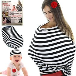 Nursing Cover Carseat Canopy – Gift Set With Bag & Baby Beanie For Boys & Girls. B ...