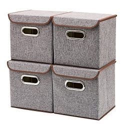 Storage Bins [4-Pack] EZOWare Linen Fabric Foldable Basket Cubes Organizer Boxes Containers Draw ...
