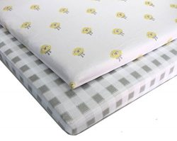 Pack N Play 100% Jersey Cotton Crib Sheets (2 Pack) Baby Boy and Baby Girl (Gender Neutral) Cust ...