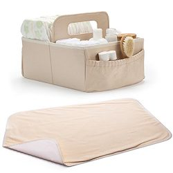 Diaper Caddy, Nursery Storage Bin – with Changing Pad, Organizer For Changing Table, Fits  ...