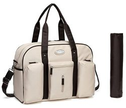 2018 Designer Diaper Bag – Beige Tote Premium Baby Bag That Comes With Insulated Pockets,  ...