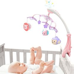 GrowthPic Musical Baby Crib Mobile with Star Projector Nursery Function, Foldable Arm, Hanging R ...