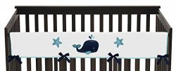 Sweet Jojo Designs Blue Whale Collection Long Front Rail Guard Baby Teething Cover Crib Protecto ...