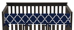 Navy Blue and White Modern Long Front Crib Rail Guard Baby Teething Cover Protector Wrap for Tre ...