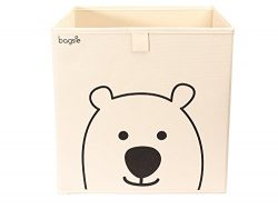 Bagsie's Collapsible Storage Box: Cube bin Organizer, Durable Fabric, 13 inch Cream, Nordic styl ...